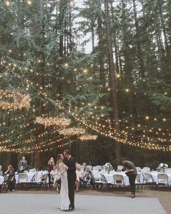 outdoor forest wedding ideas with string lights