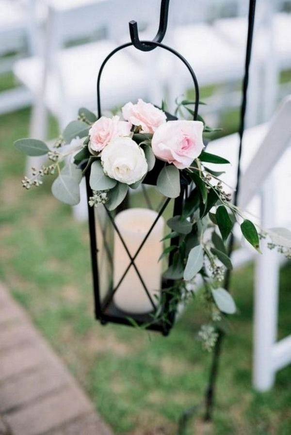 outdoor lantern wedding aisle decoration ideas