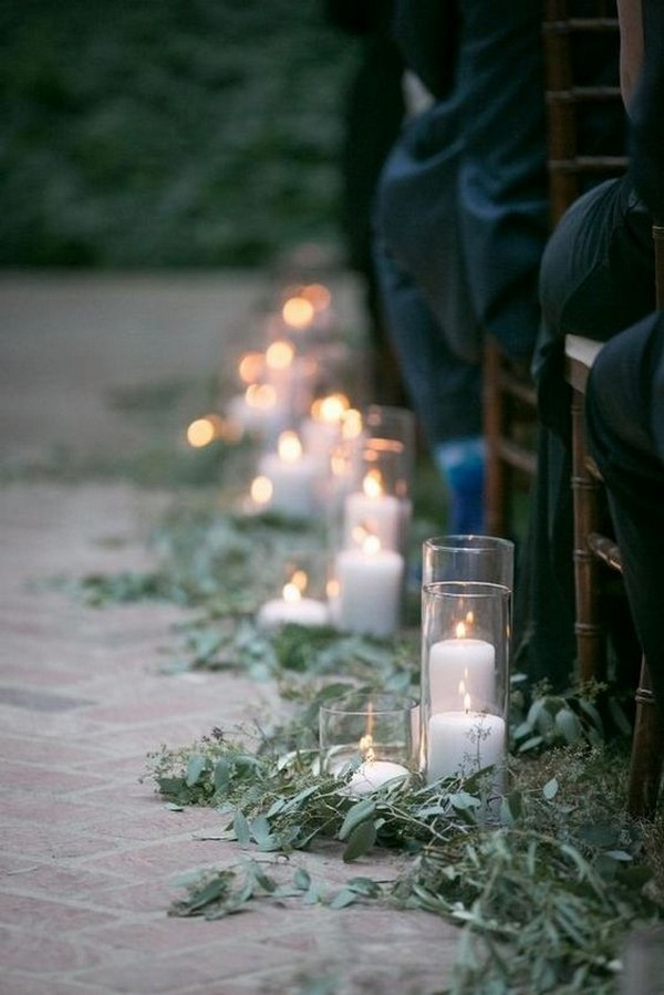 outdoor wedding aisle ideas with candles