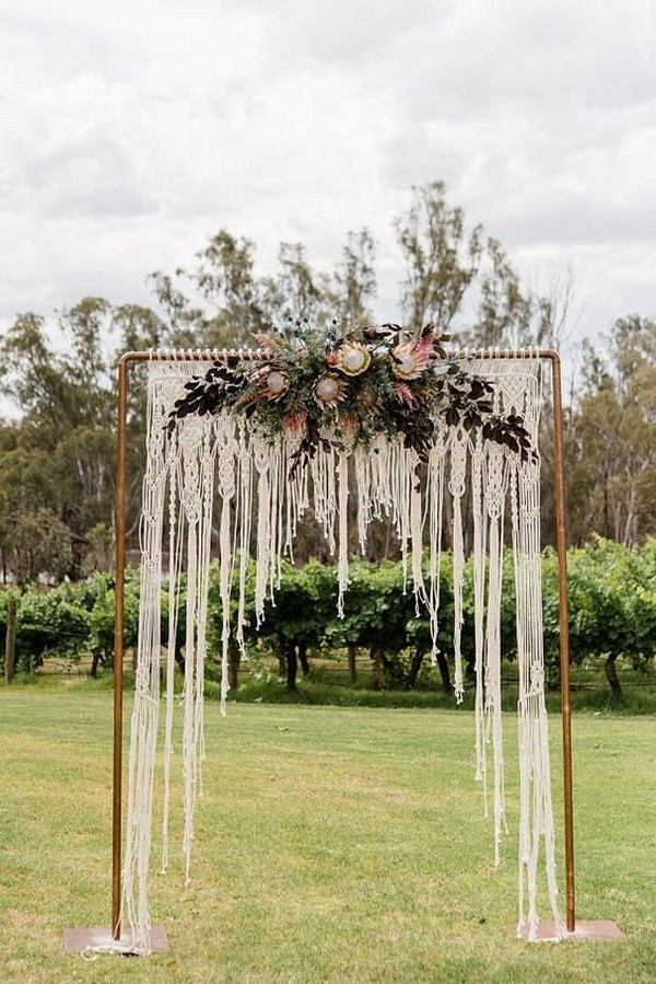 outdoor wedding arch ideas with macrame and flowers