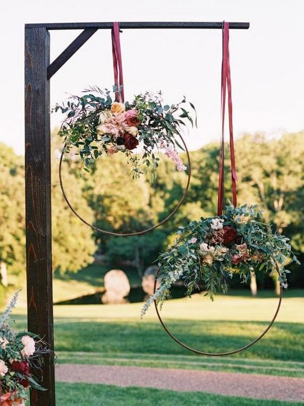 outdoor wedding hanging hoops decoration ideas