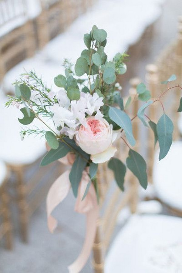 peonies and eucalyptus simple wedding aisle ideas