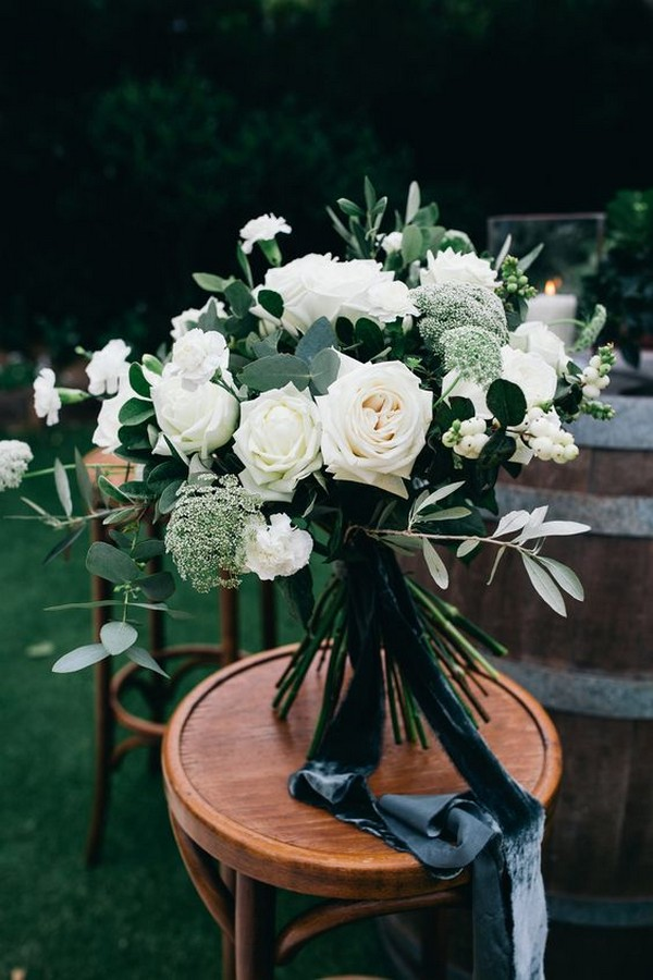 pretty white and greenery wedding flower bouquet