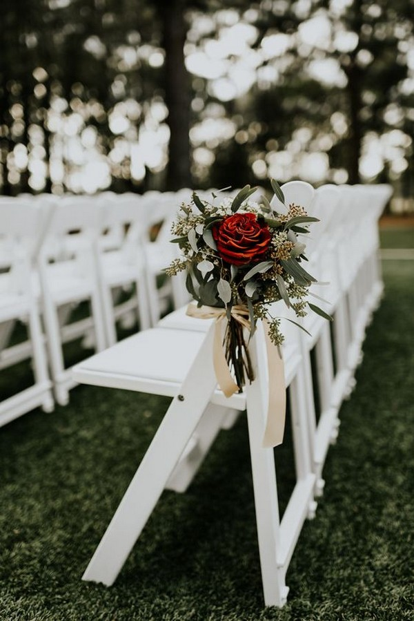 red and greenery boho wedding aisle decoration ideas