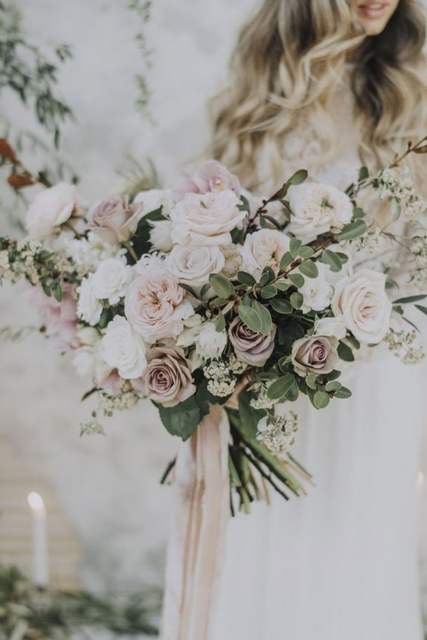 romantic blush and green wedding bouqeut