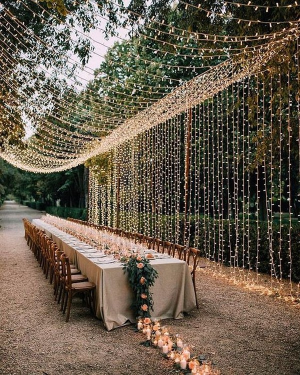 romantic wedding reception ideas with hanging string lights