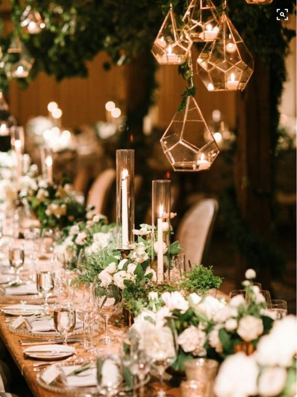 romantic wedding reception lighting ideas with geometric lantern