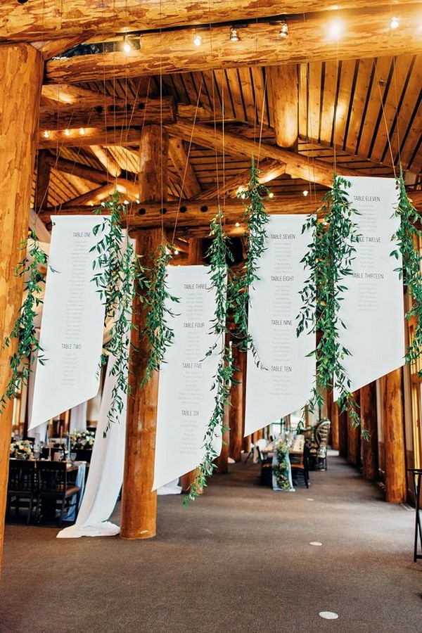 rustic hanging wedding seating charts