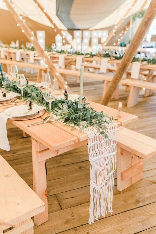 rustic macrame wedding table runner