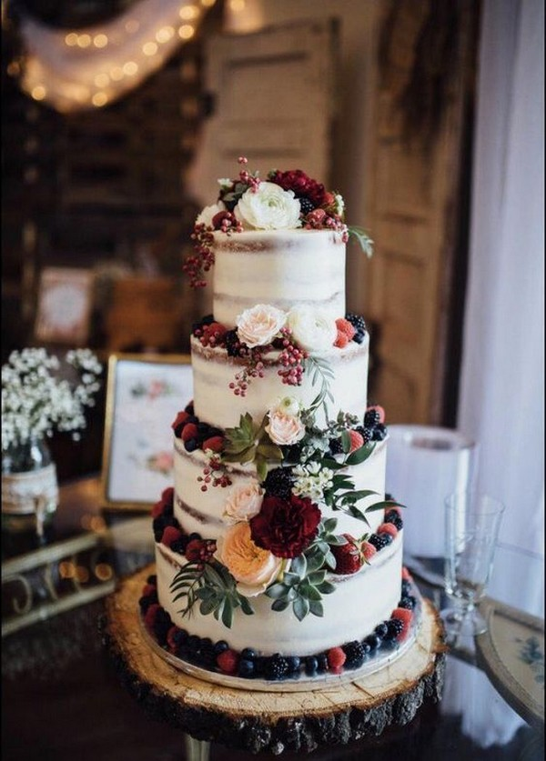 rustic vintage wedding cake with fruits and flowers