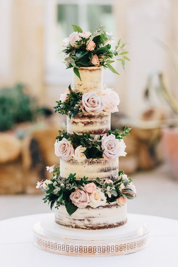 rustic vintage wedding cake with roses