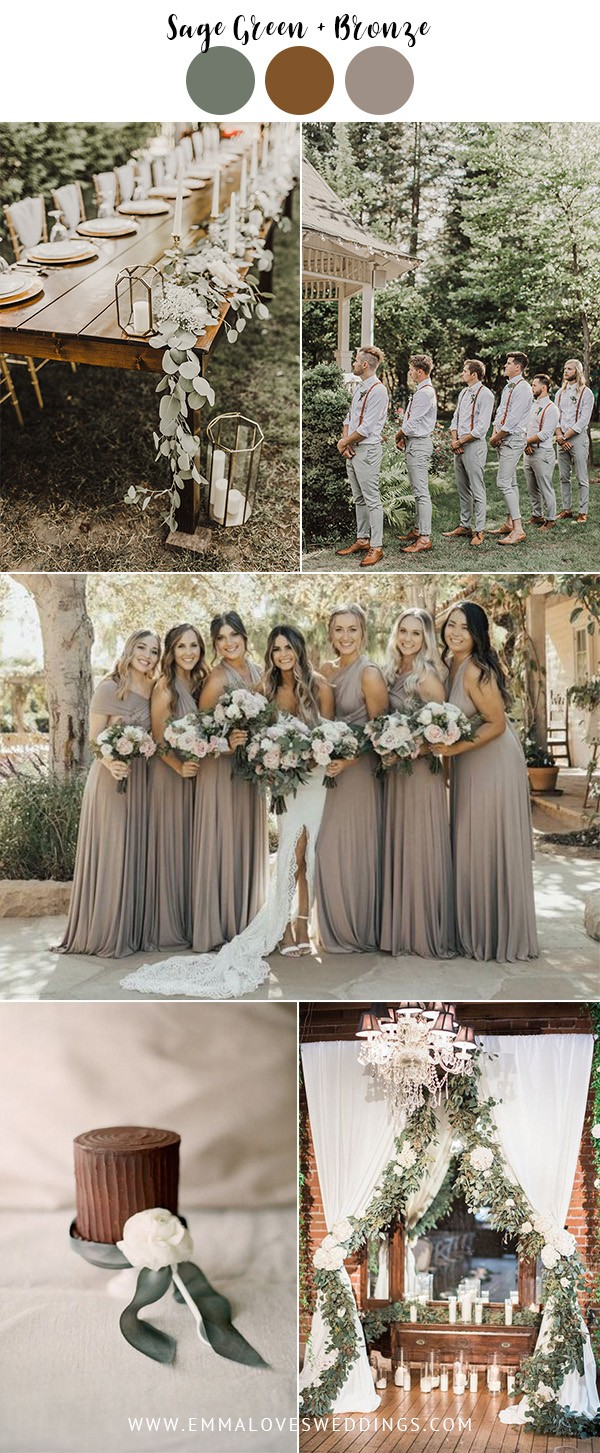 sage green and bronze vintage wedding color ideas