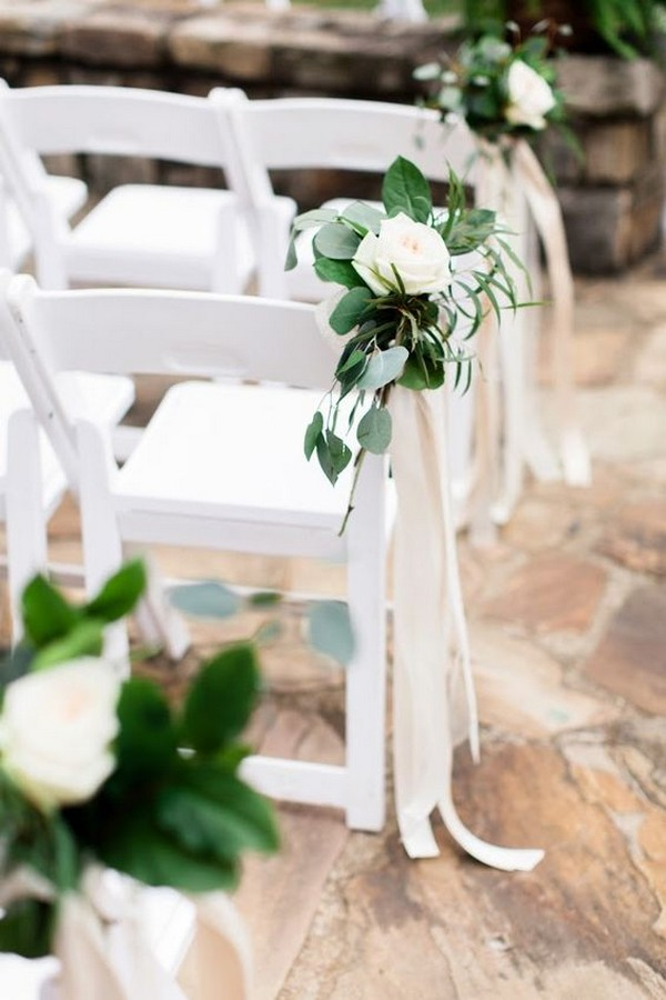 simple elegant white and greenery wedding aisle decoration ideas