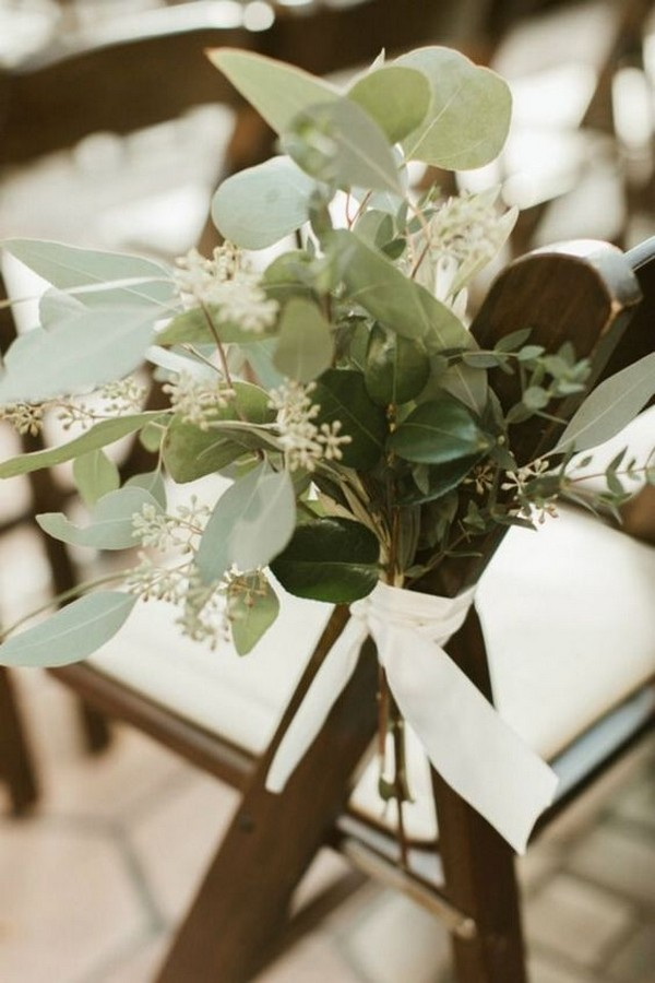 simple eucalyptus wedding aisle decoration ideas