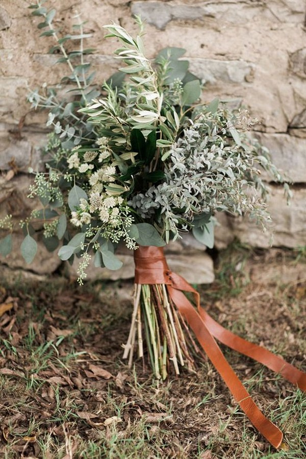 simple lush greenery wedding bouquet
