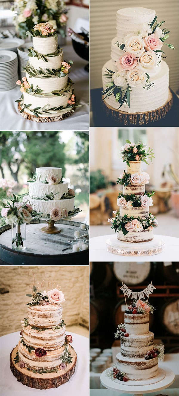 simple rustic wedding cakes with greenery and flowers