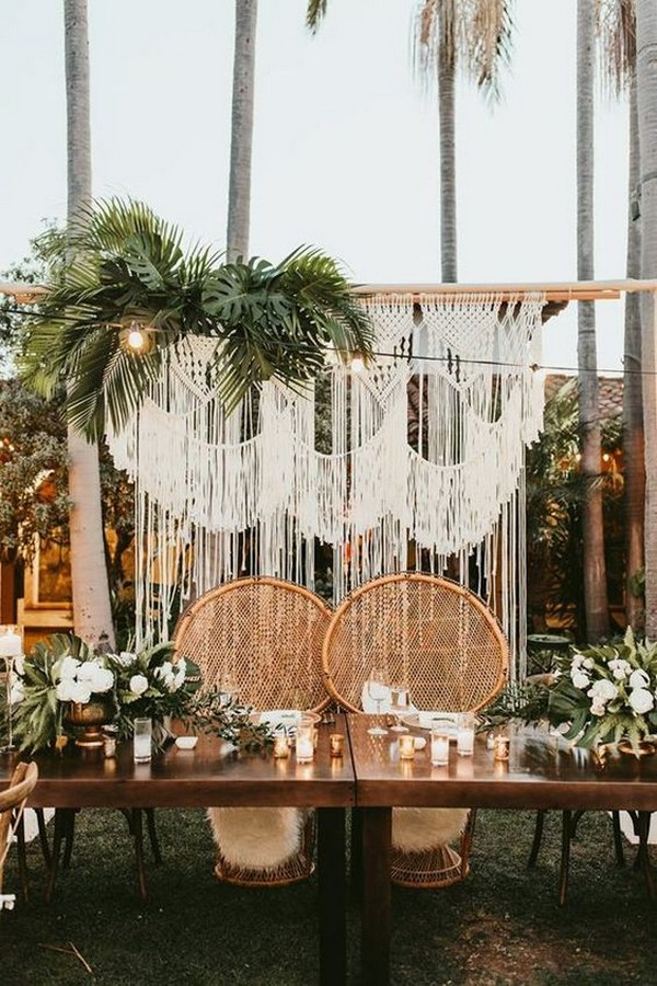topical themed wedding decoration ideas with macrame backdrops