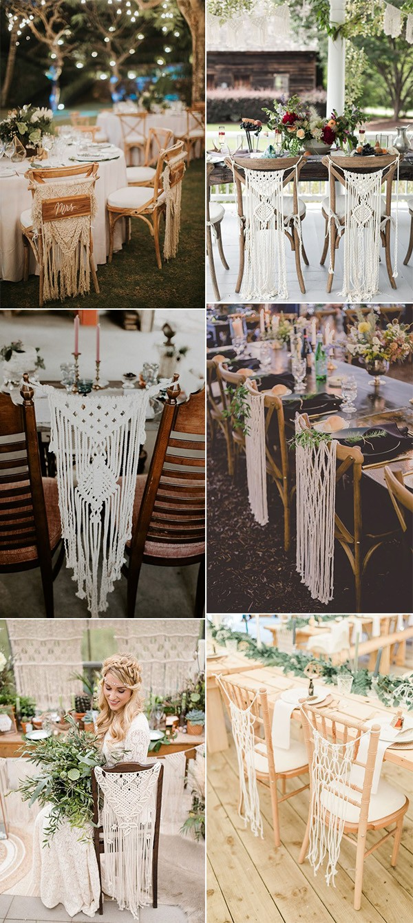 trending boho chic macrame wedding chair decoration ideas