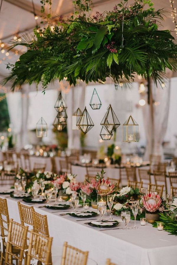 tropical wedding reception ideas with hanging lanterns