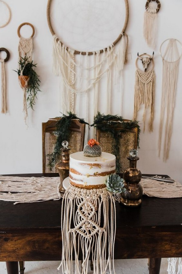 vintage boho chic macrame wedding cake