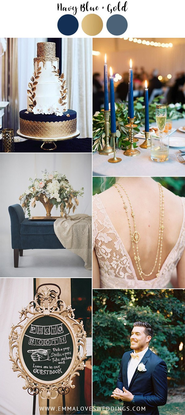 vintage navy blue and gold wedding color ideas