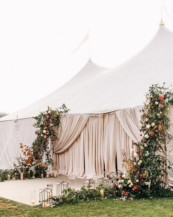 wedding entrance decorations for a tent wedding