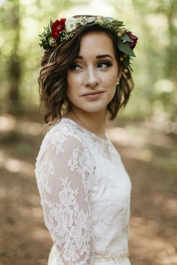 wedding hairstyle with flower crown for medium hair
