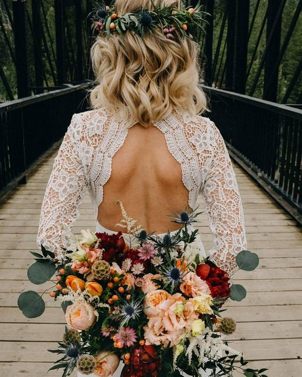 wedding hairstyle with flower crown for medium length hair
