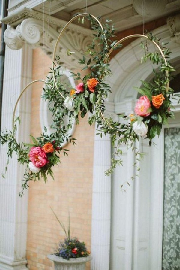 wedding hanging hoops decoration ideas