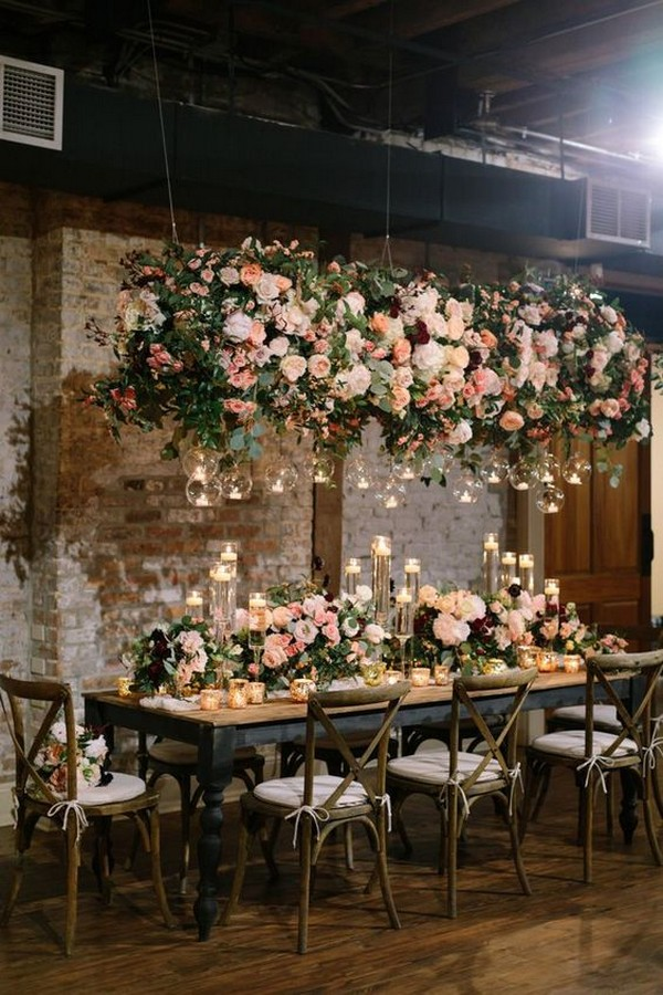 wedding reception table ideas with hanging flowers