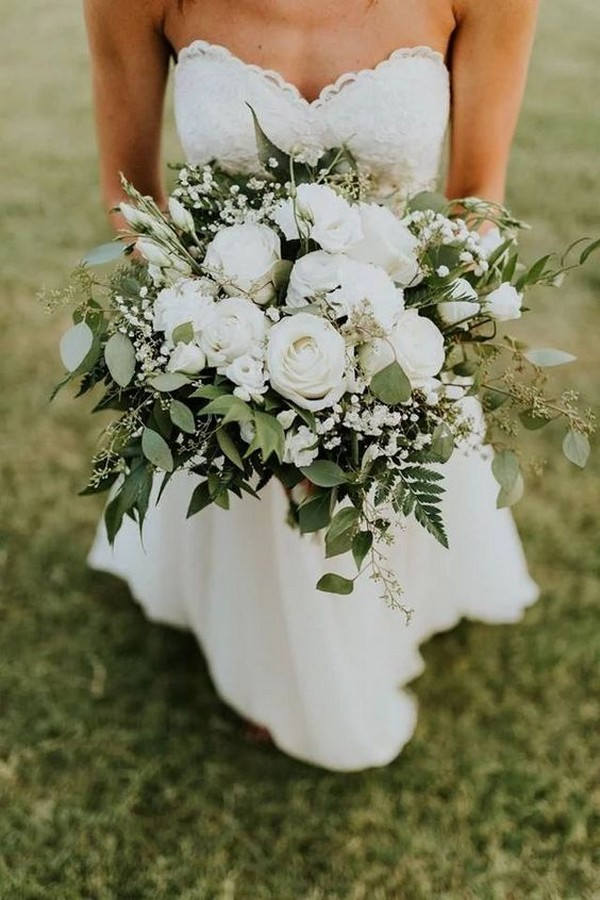 white and green wedding bouquet with eucalyptus