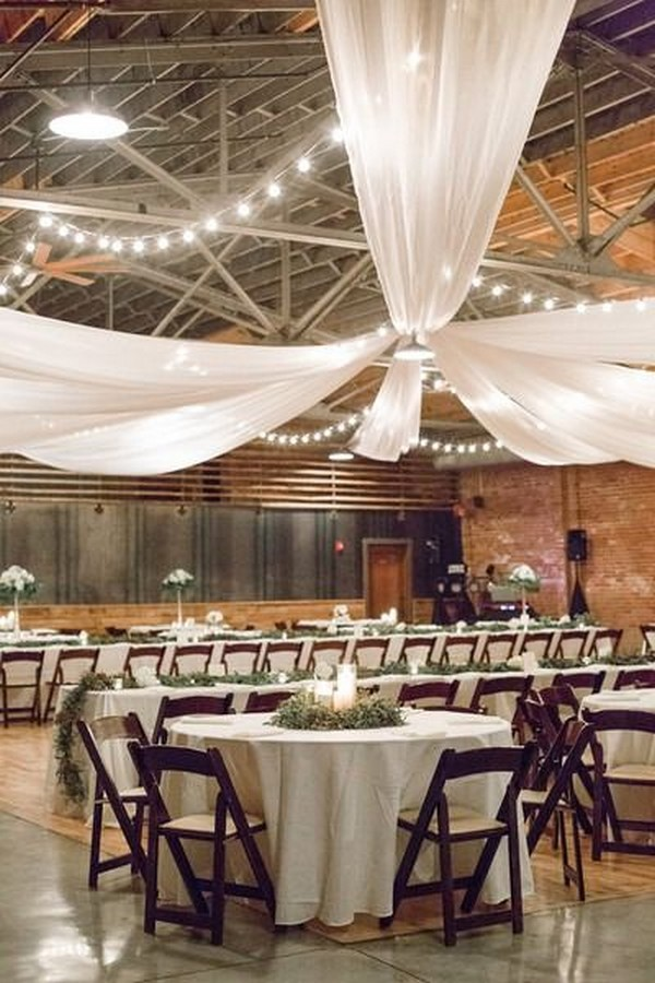 white drapery ideas for country barn wedding