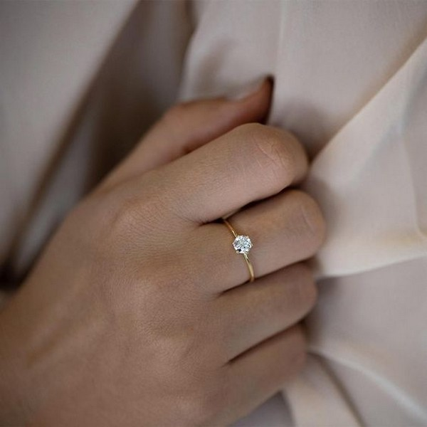 Minimalist diamond wedding engagement ring