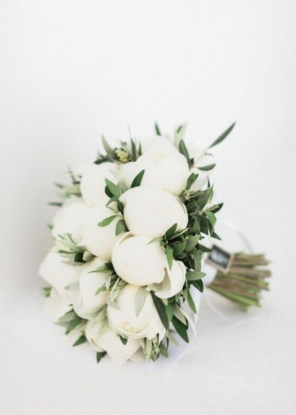 White peony small wedding bouquet