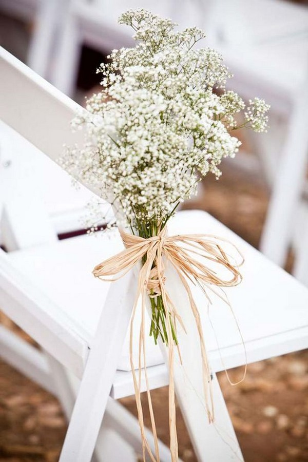 affordable wedding aisle decoration ideas with baby's breath