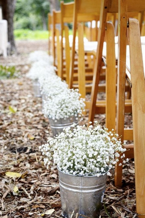 affordable wedding ceremony aisle ideas with baby's breath