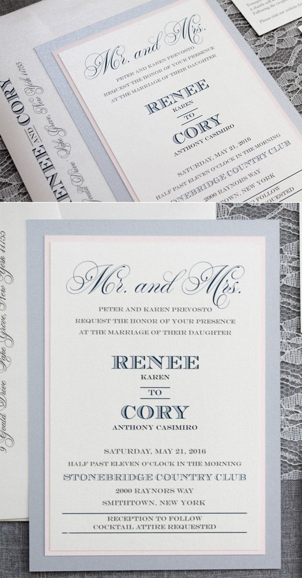 airy blue and blush winter wedding invitations