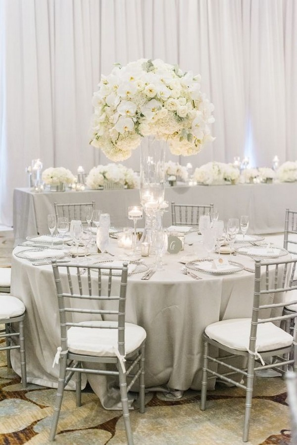 all white elegant wedding reception ideas