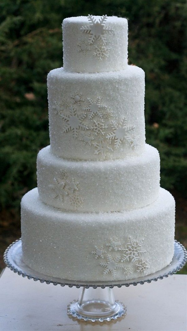 all white snowflakes winter wedding cake