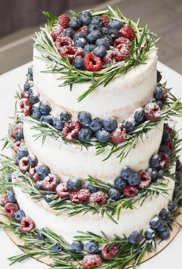 berries and greenery winter wedding cake