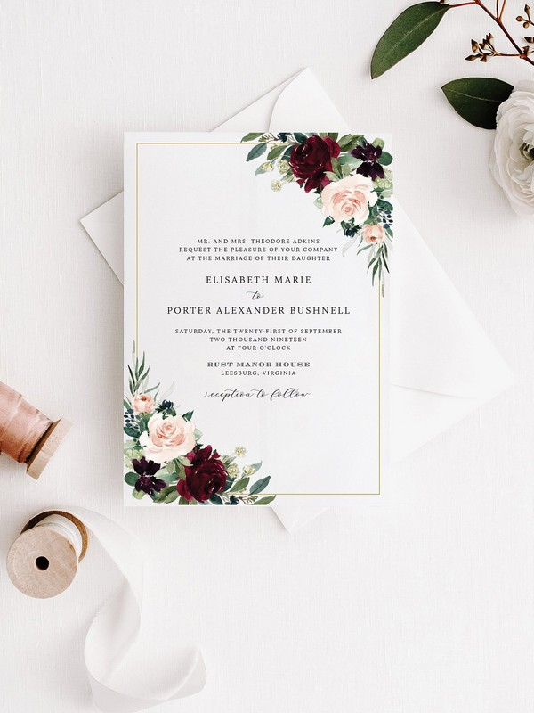 blush and burgundy floral wedding invitations