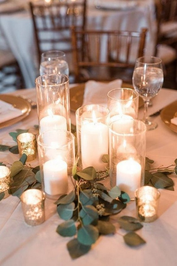 budget friendly romantic candles wedding centerpieces