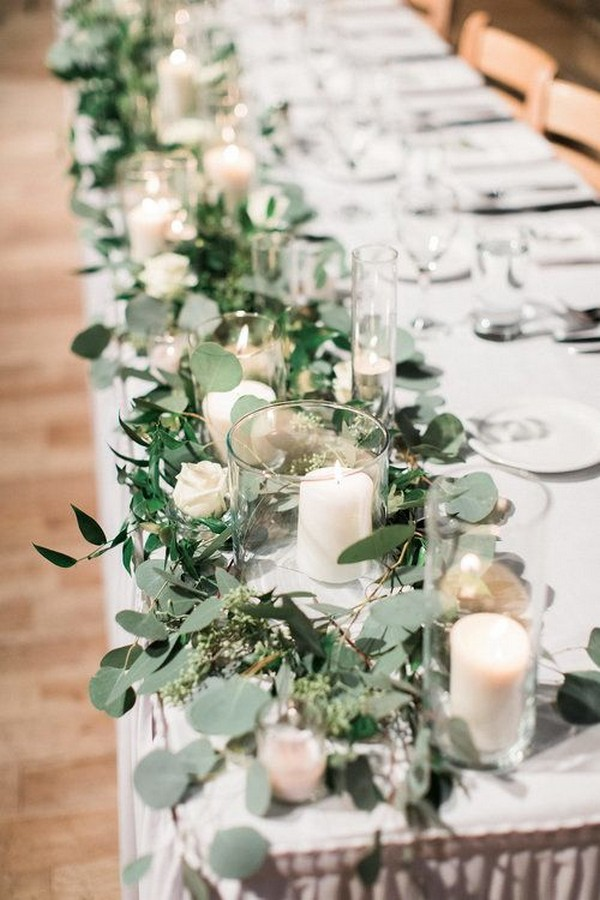 chic long table wedding centerpiece ideas