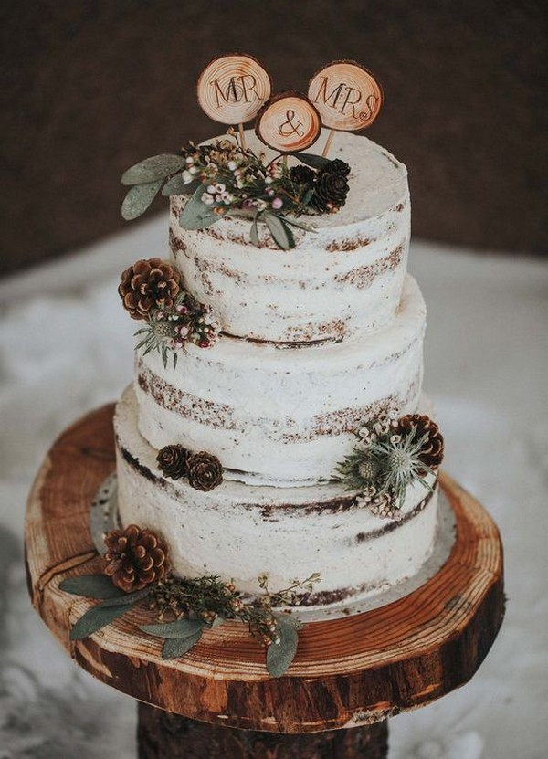chic rustic winter wedding cake