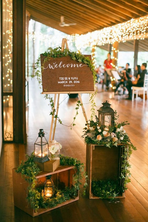chic vintage wedding entrance ideas with lanterns
