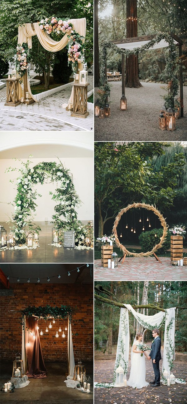 chic wedding arches with lanterns