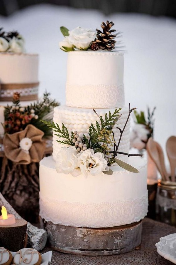 chic winter wedding cake ideas