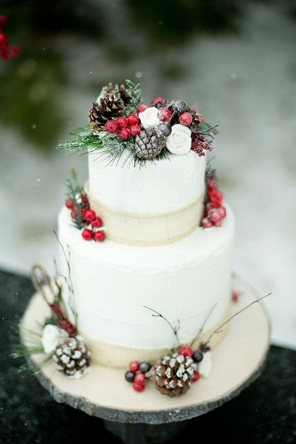 chic winter wedding cake with berries and pine cones