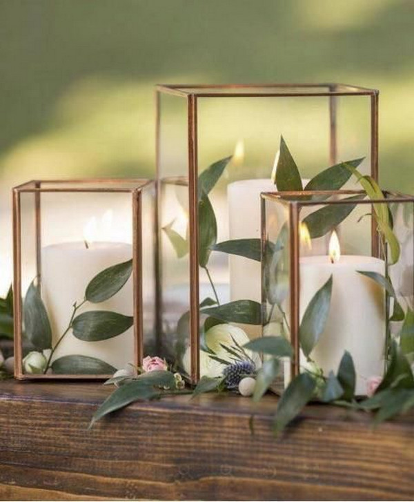 copper geometric wedding centerpiece with candles
