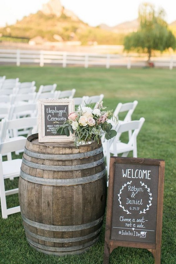 country rustic outdoor wedding ceremony decoration ideas on a budget